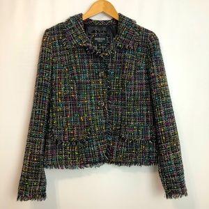 Serrani black bouclé tweed lined blazer pockets 12